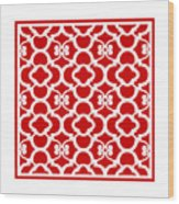 Moroccan Floral Inspired With Border In Red Wood Print