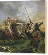 Moroccan Horsemen In Military Action Wood Print by Ferdinand Victor Eugene Delacroix