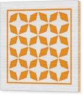 Moroccan Inlay With Border In Tangerine Wood Print