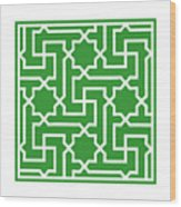 Moroccan Key With Border In Dublin Green Wood Print