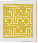 Moroccan Key With Border In Mustard Wood Print