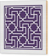 Moroccan Key With Border In Purple Wood Print