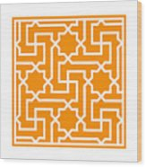 Moroccan Key With Border In Tangerine Wood Print