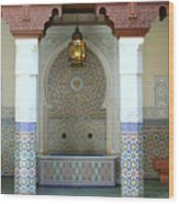 Moroccan Mosaic Tile Fountain Wood Print