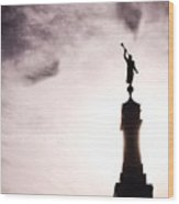 Moroni Silhouette Over Louisville Wood Print
