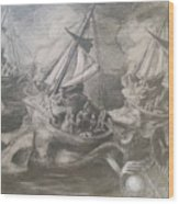 Morphological Echo At Sea Wood Print