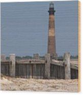 Morris Island Lighthouse Sea Wall Wood Print