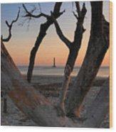 Morris Island Lighthouse Sunrise 2 Wood Print