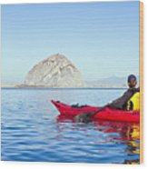 Morro Bay Kayaker Wood Print