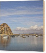 Morro Harbor And Rain Clouds Wood Print