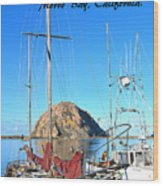 Morro Rock Morro Bay California Wood Print