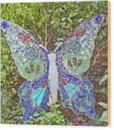 Mosaic Butterfly Wood Print
