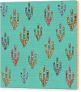 Mosaic Cacti On Aqua Wood Print