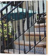 Mosaic Tile Staircase In La Quinta California Art District Wood Print