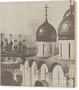 Moscow, Domes Of Churches In The Kremlin Wood Print