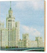 Moscow High-rise Building Wood Print