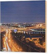 Moscow Night Panorama Wood Print