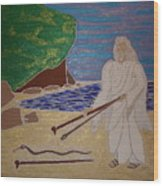 Moses And Staff Wood Print
