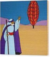 Moses And The Burning Bush Wood Print
