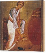 Moses Before Burning Bush Wood Print