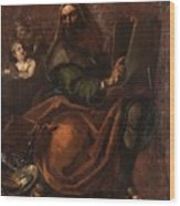 Moses Holding The Tablets Of Law Wood Print
