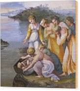 Moses Saved From The Waters Raffaello Sanzio Da Urbino Raphael Raffaello Santi Wood Print