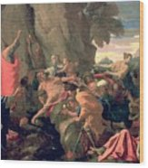 Moses Striking Water From The Rock Wood Print by Nicolas  Poussin