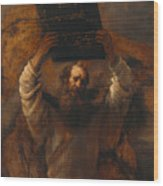 Moses With The Ten Commandments Wood Print