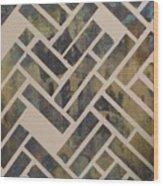 Mosque Herringbone Blue Wood Print by Salwa  Najm
