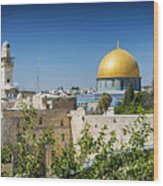 Mosques In Old Town Of Jerusalem Israel Wood Print