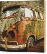 Moss Covered 23 Window Bus Wood Print by Michael David Sorensen