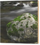 Mossy Boulder In Mountain Stream Wood Print