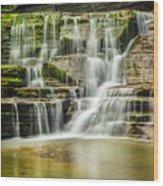 Mossy Flowing Waterfalls In Enfield Glen Wood Print