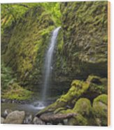 Mossy Grotto Falls In Summer Wood Print