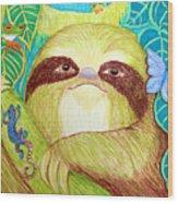 Mossy Sloth Wood Print
