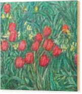 Mostly Tulips Wood Print