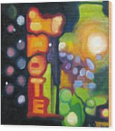 Motel Lights Wood Print