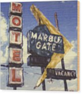 Motel Marble Gate Wood Print