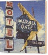 Motel Marble Gate Wood Print
