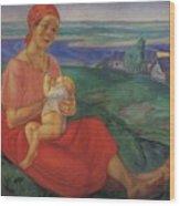 Mother 1 1913 Kuzma Sergeevich Petrov-vodkin Wood Print