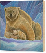 Mother And Baby Polar Bears Wood Print