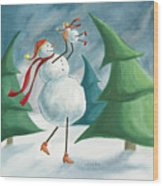 Mother And Baby Snowmen Wood Print