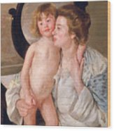 Mother And Boy Wood Print