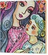 Mother And Child In Blue Wood Print