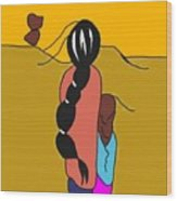 Mother And Child In Desert Wind Wood Print