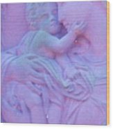Mother And Child In Lavender Wood Print