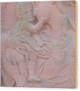 Mother And Child In Red Sandstone Wood Print