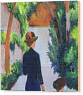 Mother And Child In The Park Wood Print