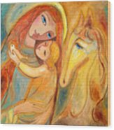 Mother And Child On Horse Wood Print