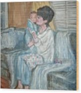 Mother And Child R Wood Print